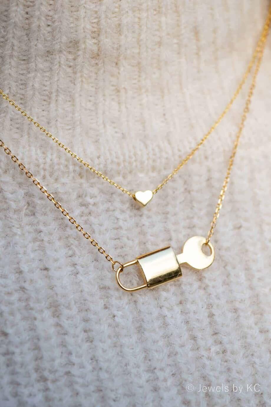 Gouden ketting 'Hartje' en Slotje met sleutel' van Goud op Zilver