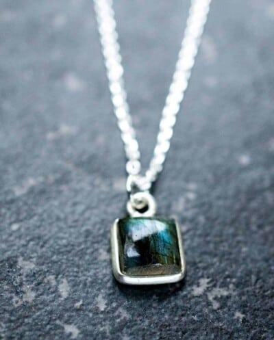 Zilveren edelsteen ketting 'Square' groene Labradoriet van Sterling Zilver
