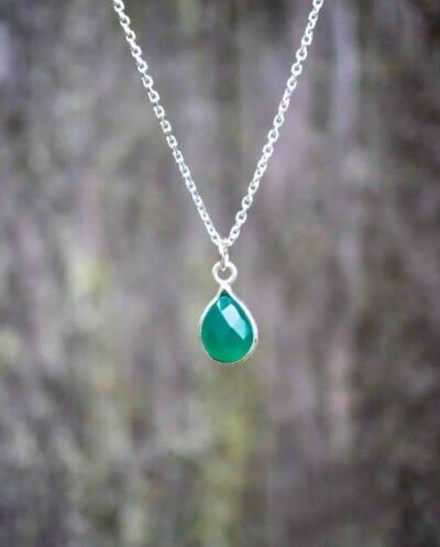 Zilveren ketting met edelsteen groene 'Onyx' van Sterling Zilver