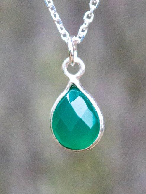 Zilveren ketting met edelsteen groene Onyx van Sterling Zilver