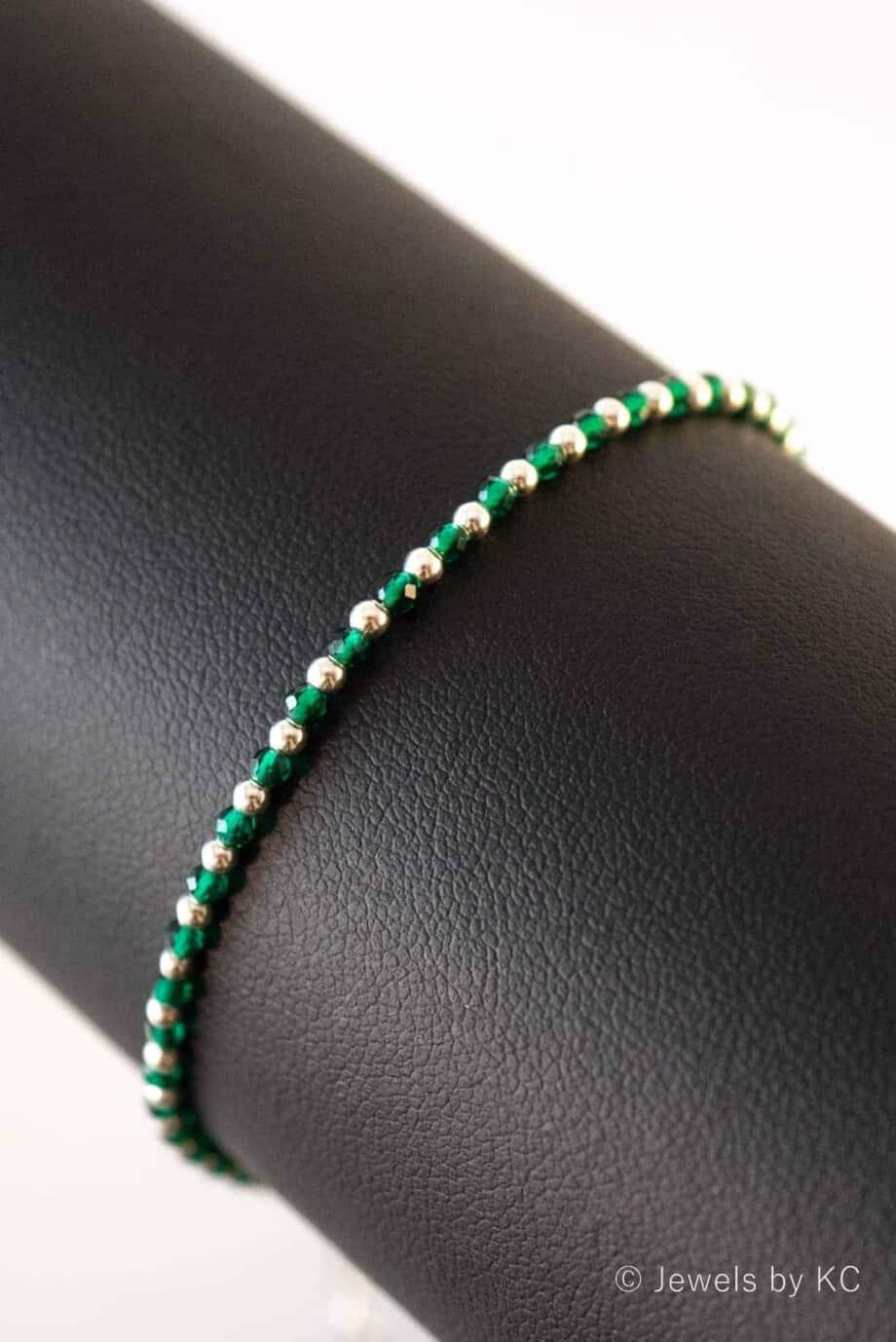 Handgemaakte Zilveren edelsteen armband met groene Spinel van Sterling Zilver