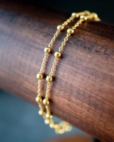 Gouden armband 'Double Satellite' van Goud op Zilver