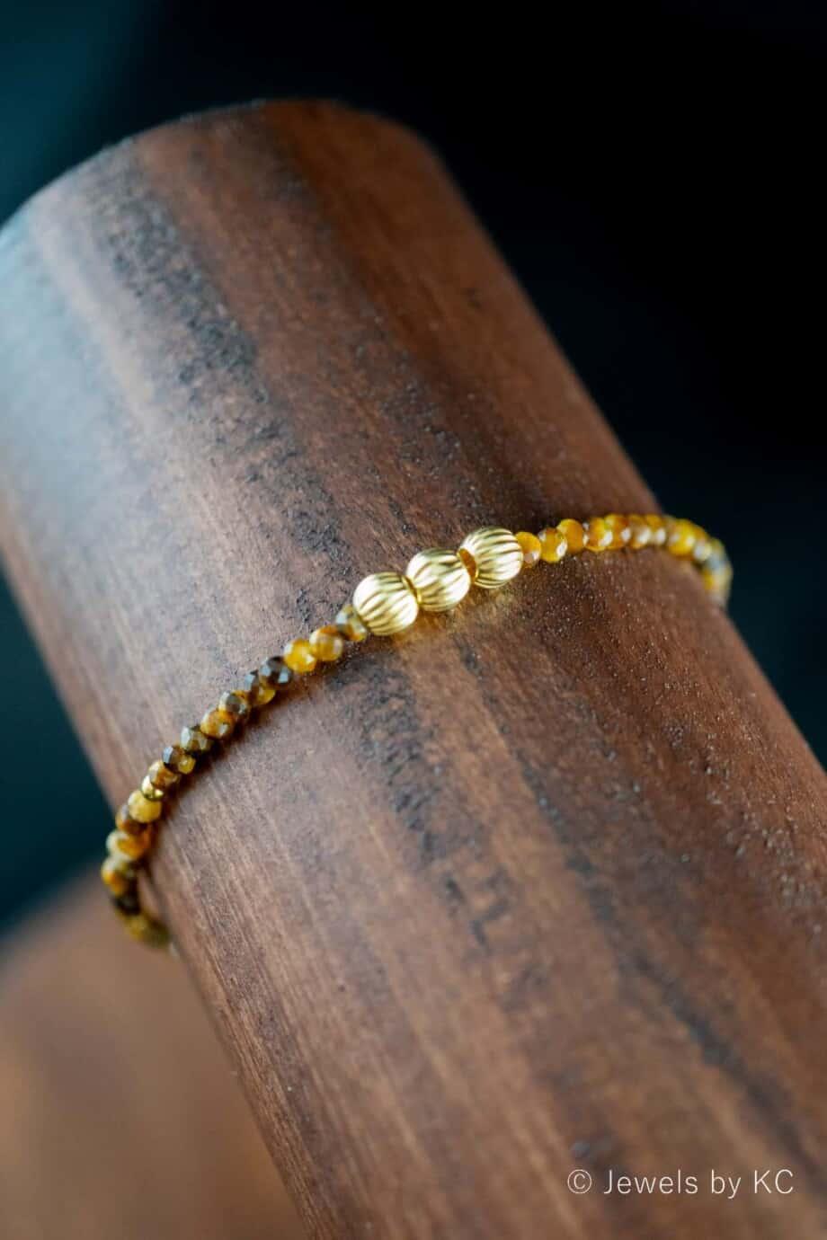 Handgemaakte Gouden edelsteen Armband 'The eye of the tiger'