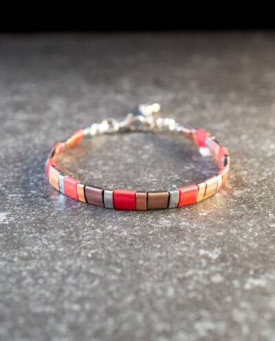 Handgemaakte Miyuki Tila armband 'Lipstick'