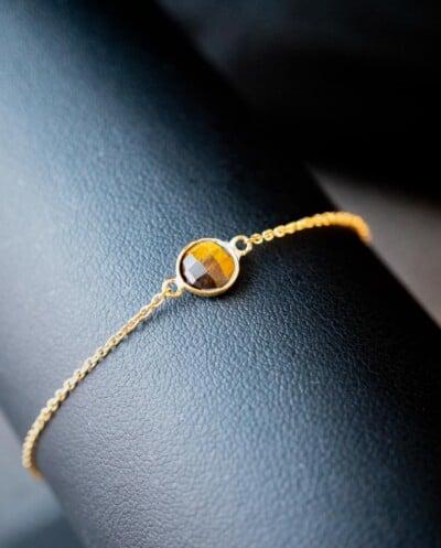 Gouden edelsteen armband oranje-bruine 'Tijgeroog' van Goud op Zilver