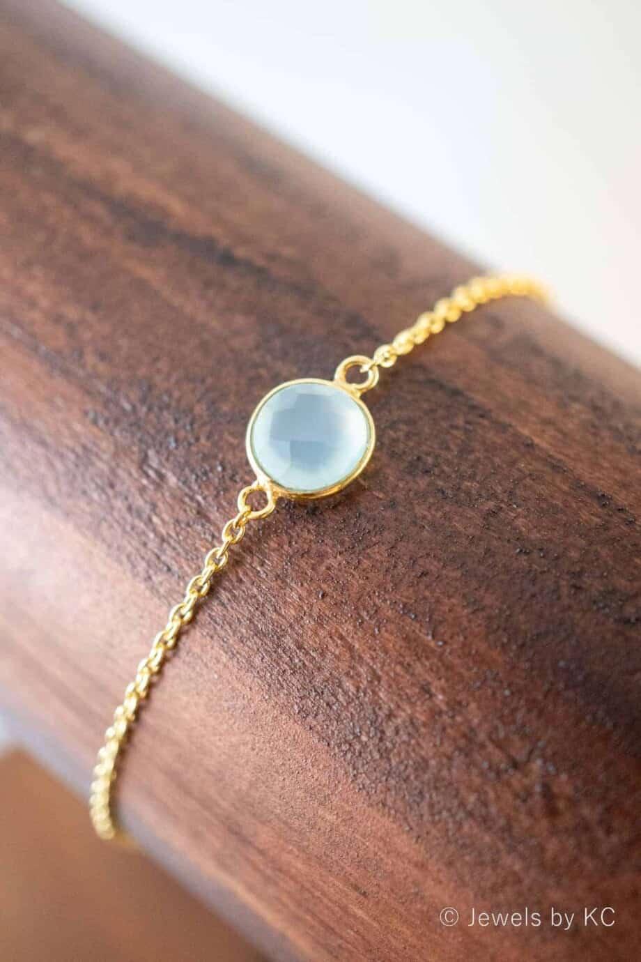 Gouden edelsteen armband blauwe 'Aqua (water) Chalcedoon' van Goud op Zilver