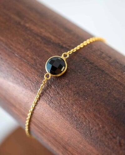 Gouden edelsteen armband Zwarte 'Black Onyx' van Goud op Zilver