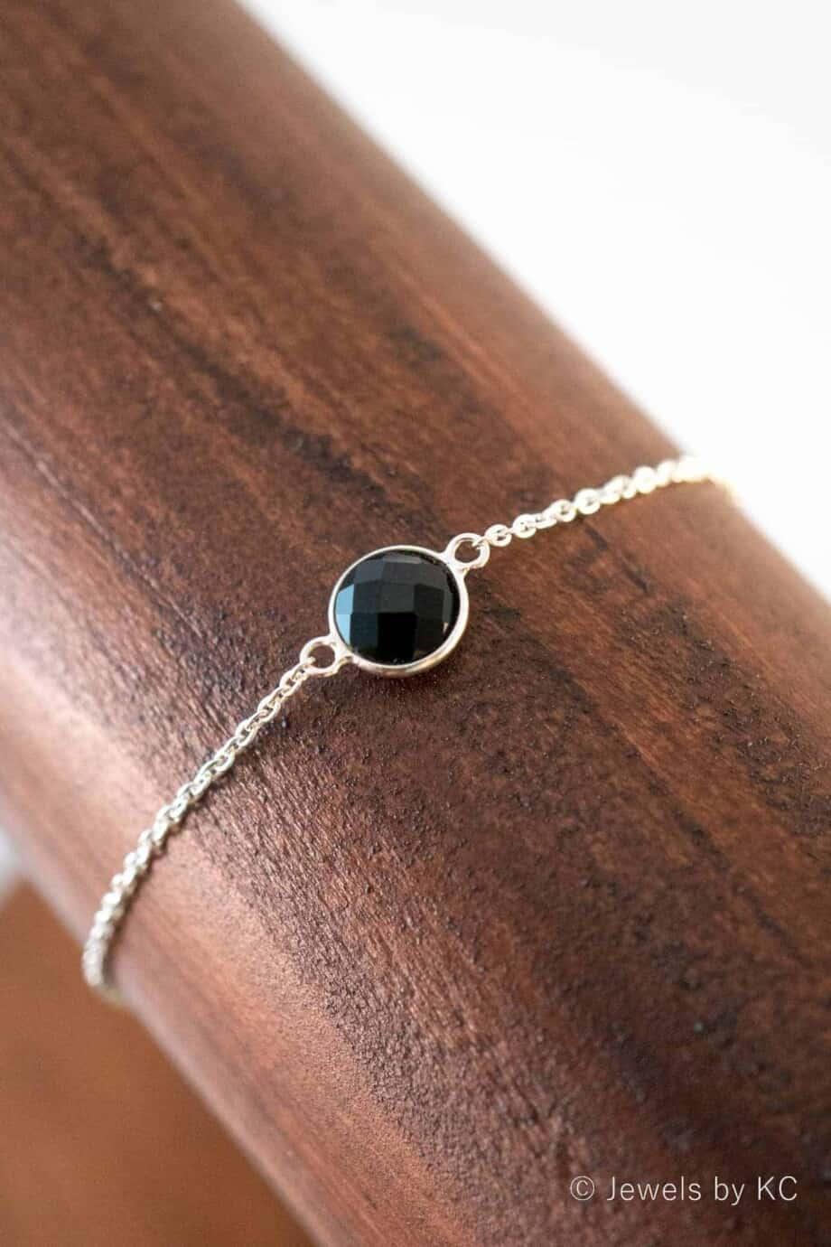 Zilveren edelsteen armband met zwarte 'Black Onyx' van Sterling Zilver