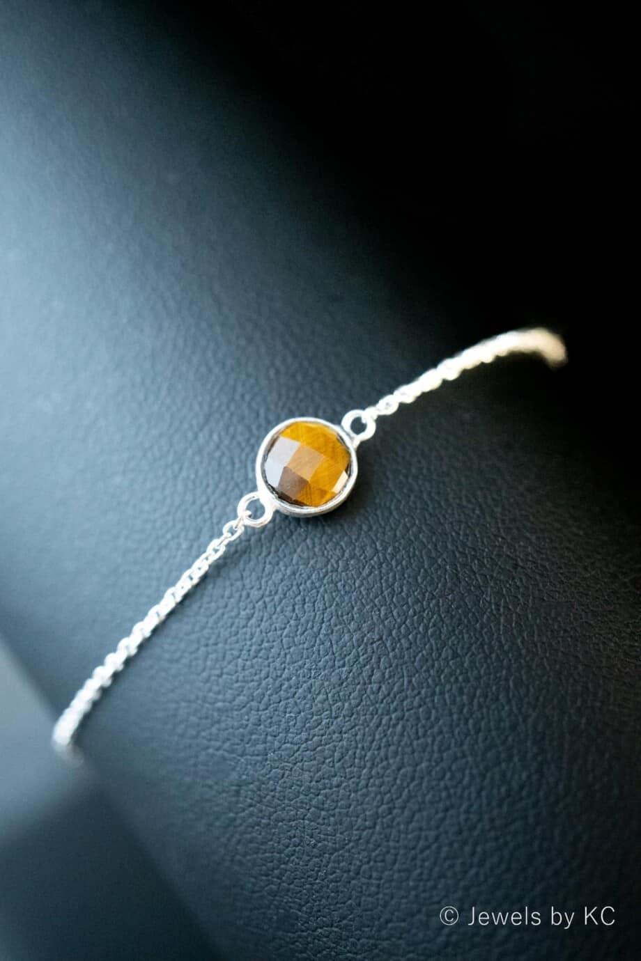 Zilveren edelsteen armband oranje-bruine 'Tijgeroog' van Sterling Zilver