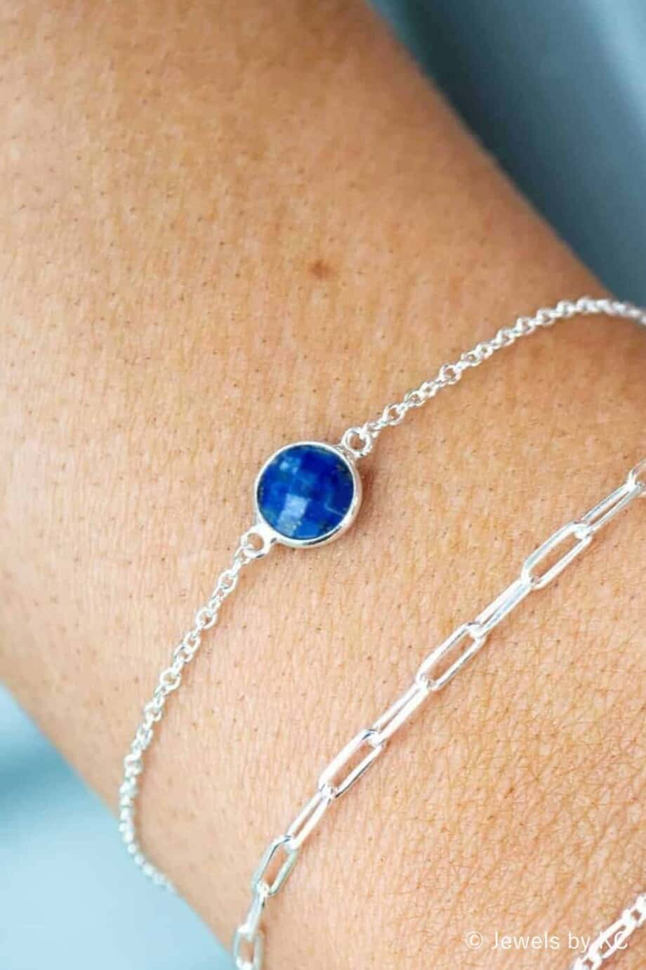 Zilveren armband met blauwe edelsteen 'Lapis Lazuli'