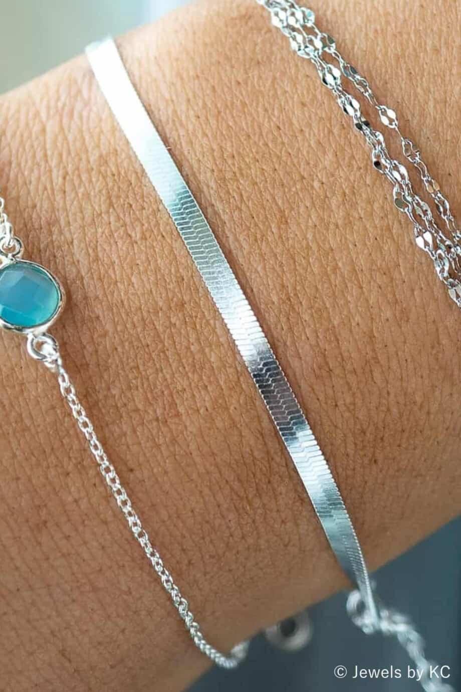 Zilveren Armband 'Flat snake' Snake chain armband van Sterling Zilver
