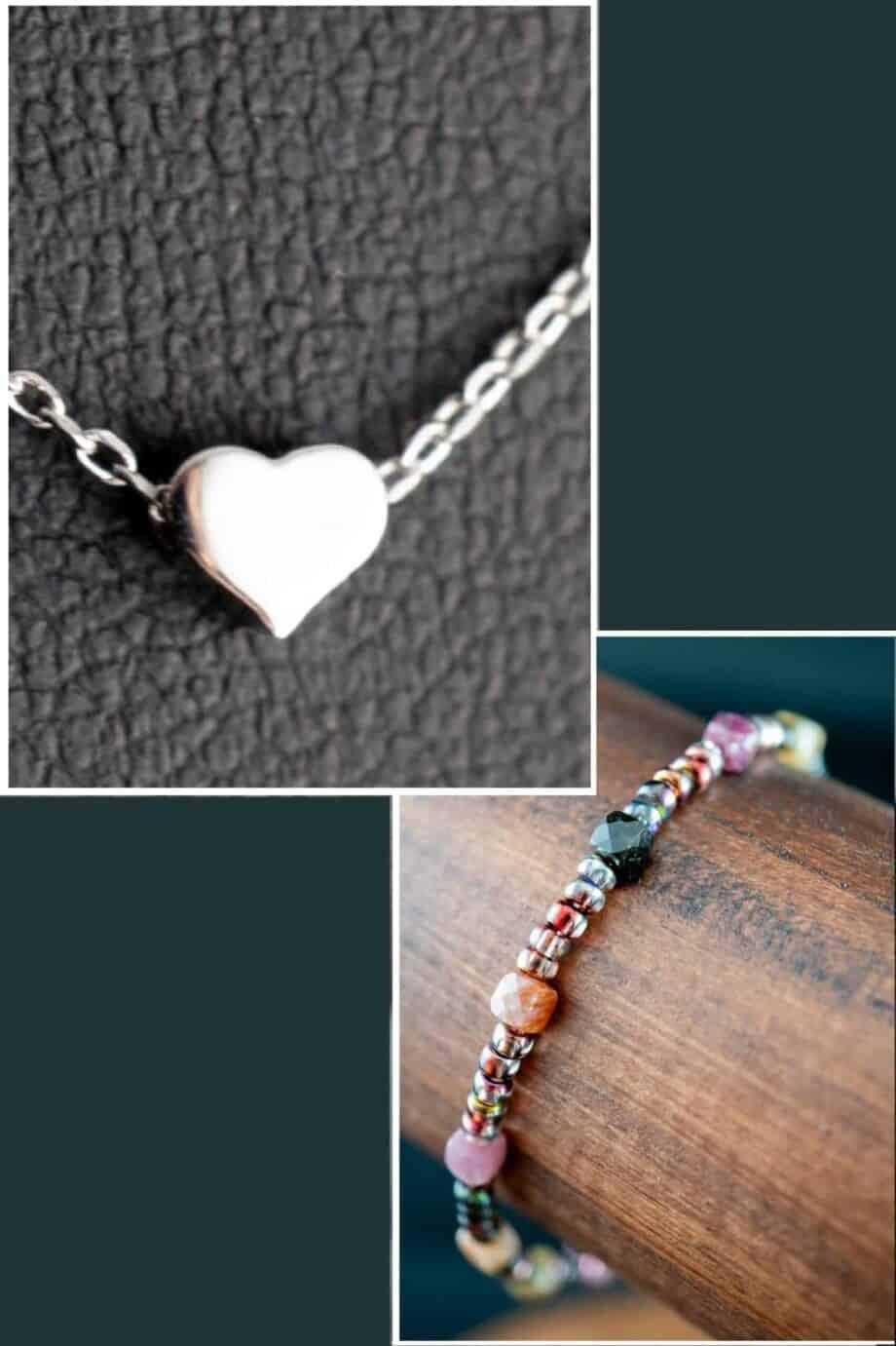 Zilveren ketting met Hartje hanger en Toermalijn armband