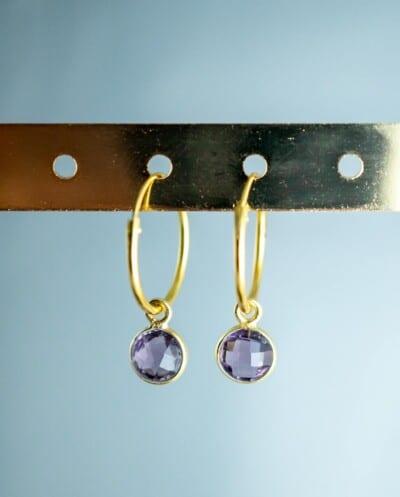 Gouden-edelsteen-oorbellen-paarse-Amethist-Goud-op-Zilver