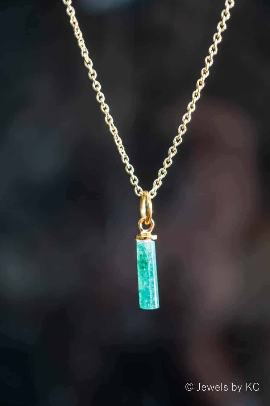 Gouden edelsteen ketting groene 'Aventurijn' van Goud op Zilver