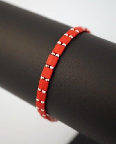 Rode Miyuki Tila 'Red' armband