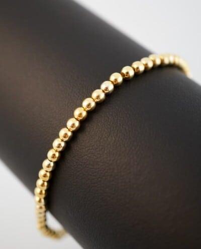 WS-AR-20129 Gouden kralenarmband van Goud op Zilver