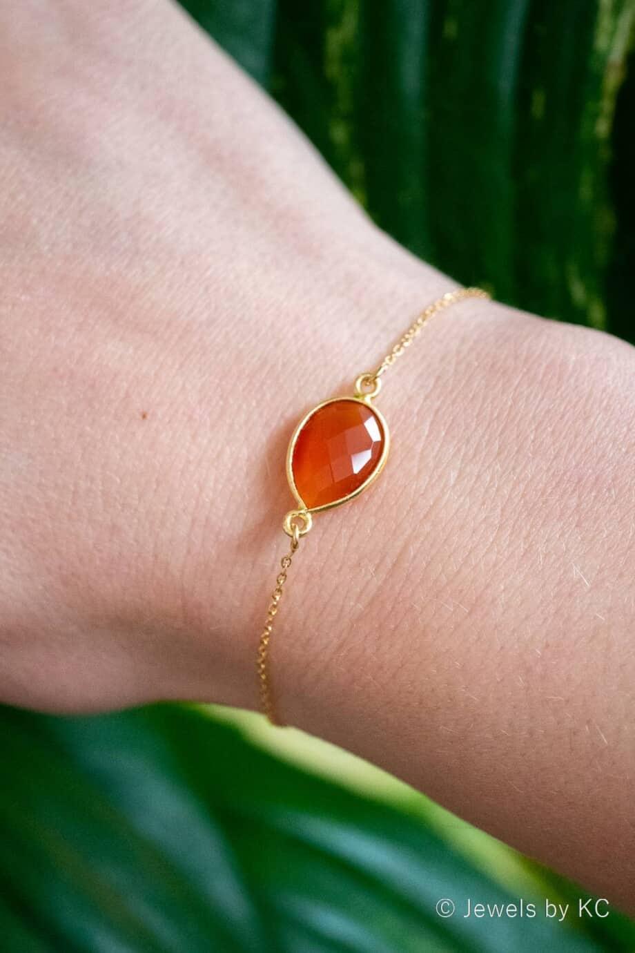Gouden edelsteen armband met Oranje-rode Carneool van Goud op Zilver