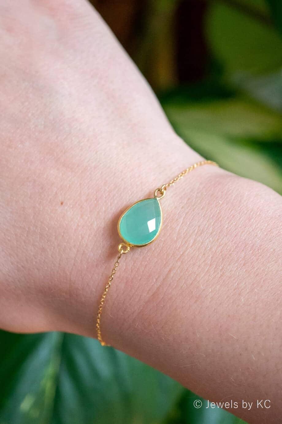 Gouden edelsteen armband met licht-groene Peru Chalcedoon van Goud op Zilver