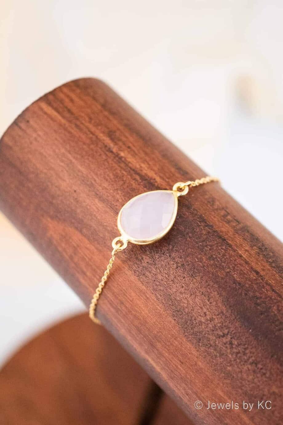 Gouden edelsteen armband met Roze Chalcedoon van Goud op Zilver