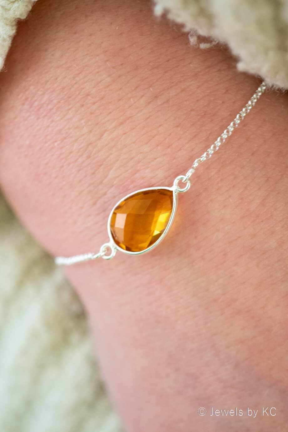 Zilveren edelsteen armband Oranje-gele 'Citrien' van Sterling Zilver