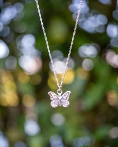 Zilveren ketting met hanger 'Vlinder' van Sterling Zilver