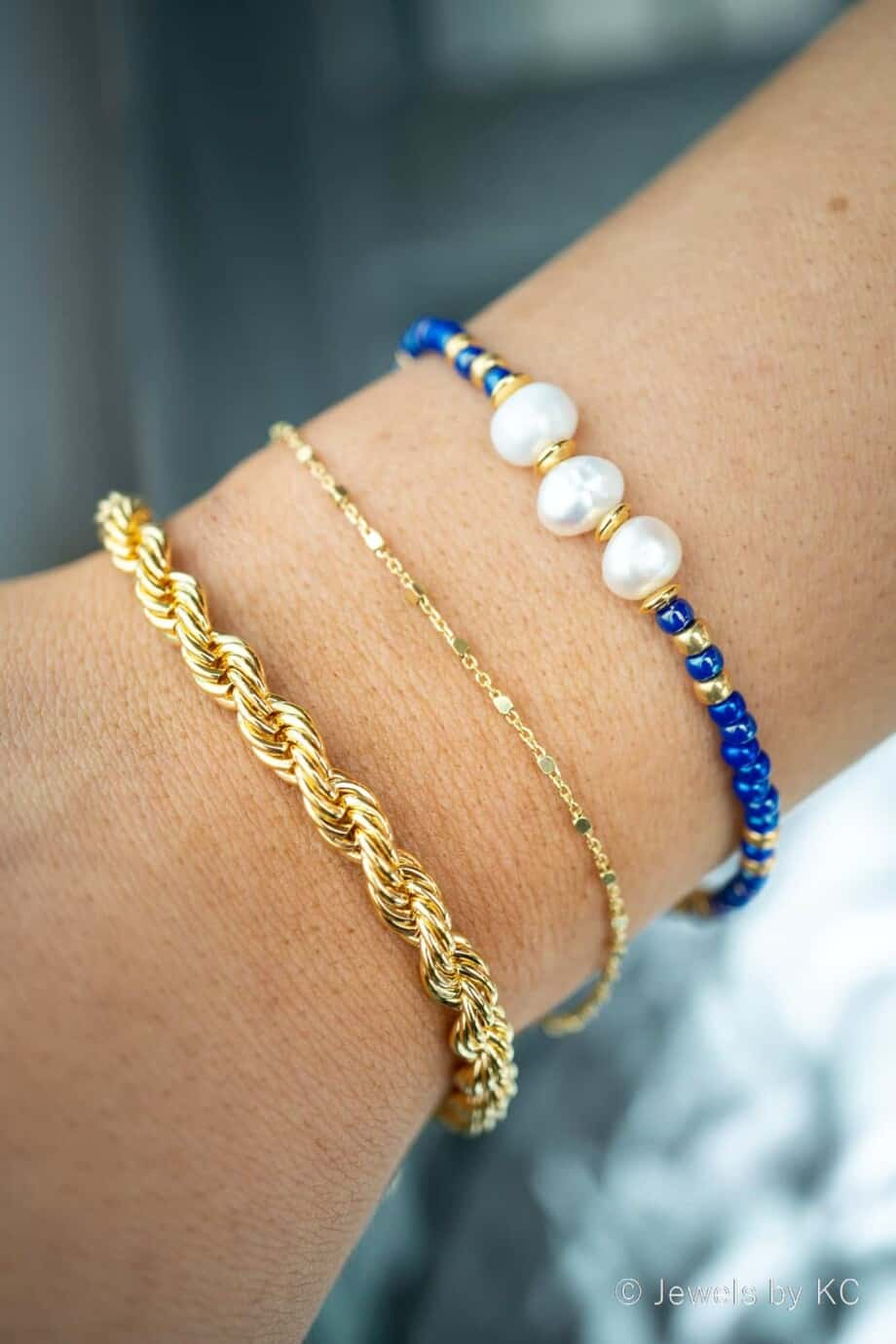 Gouden armbandjes en blauw Miyuki Armbandje 'Purple Blue' met Zoetwater parels
