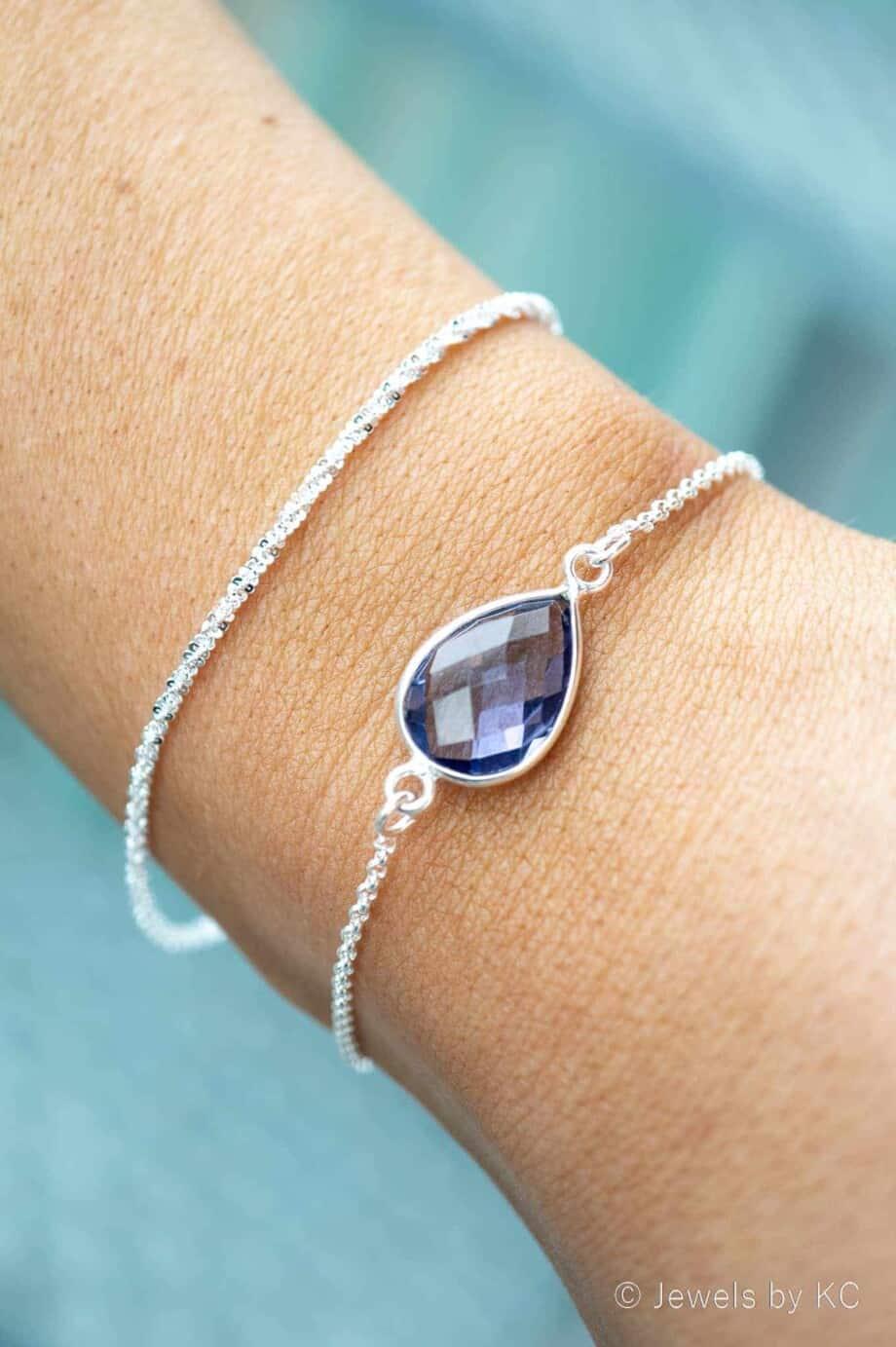 Zilveren edelsteen armband Paars-blauwe 'Ioliet' van Sterling Zilver