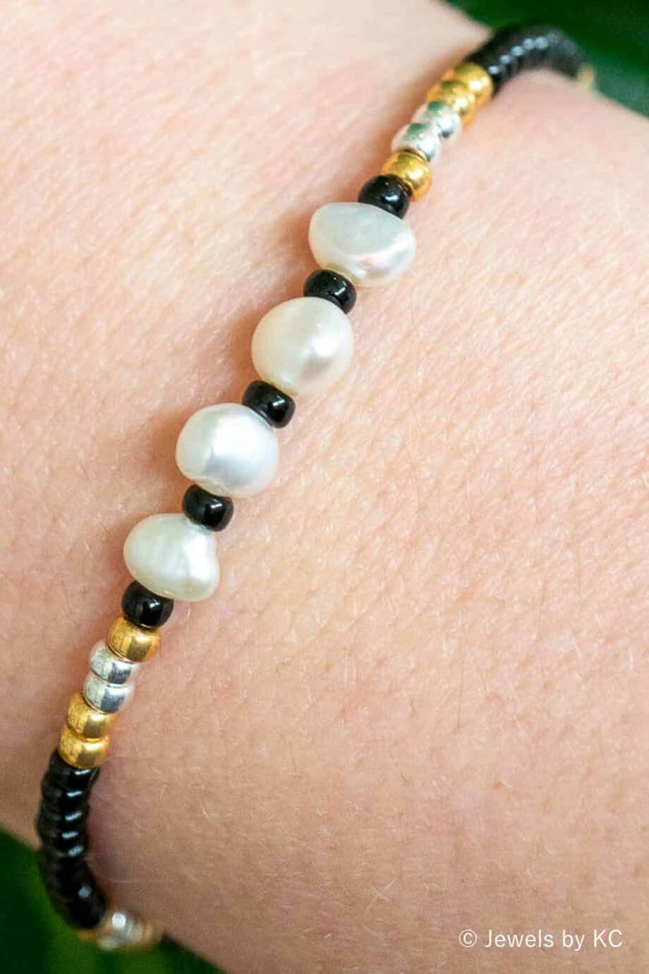 Gouden Miyuki Armbandje 'Royal' met Zoetwater parels