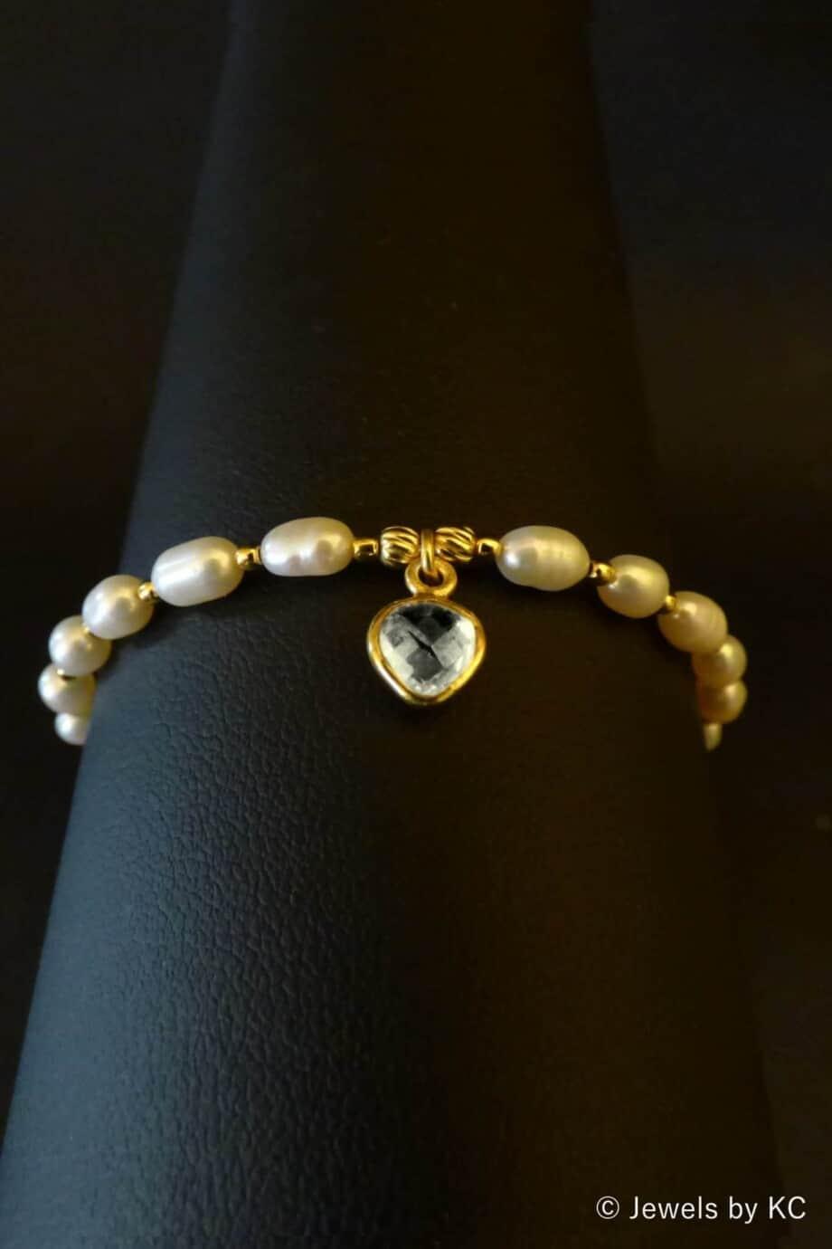 Gouden armband Zoetwater parel met Kristal edelsteen van Goud op Zilver