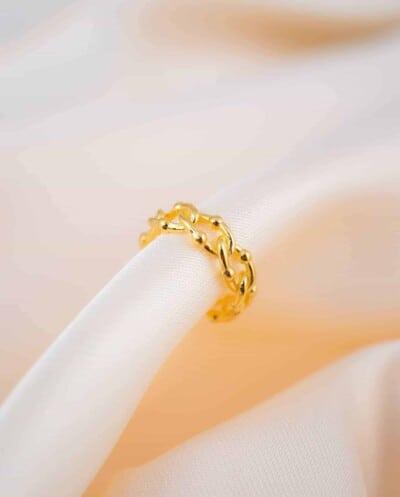 Gouden ear cuff 'Cable' van Goud op Zilver