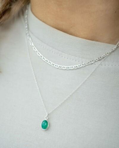 Zilveren ketting met groene 'Onyx' edelsteen