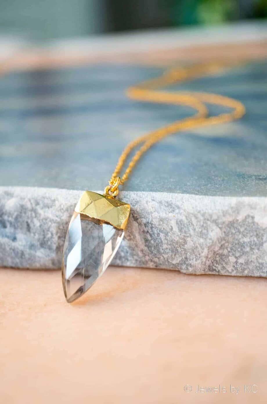 Gouden ketting met Kristal edelsteen, Goldfilled