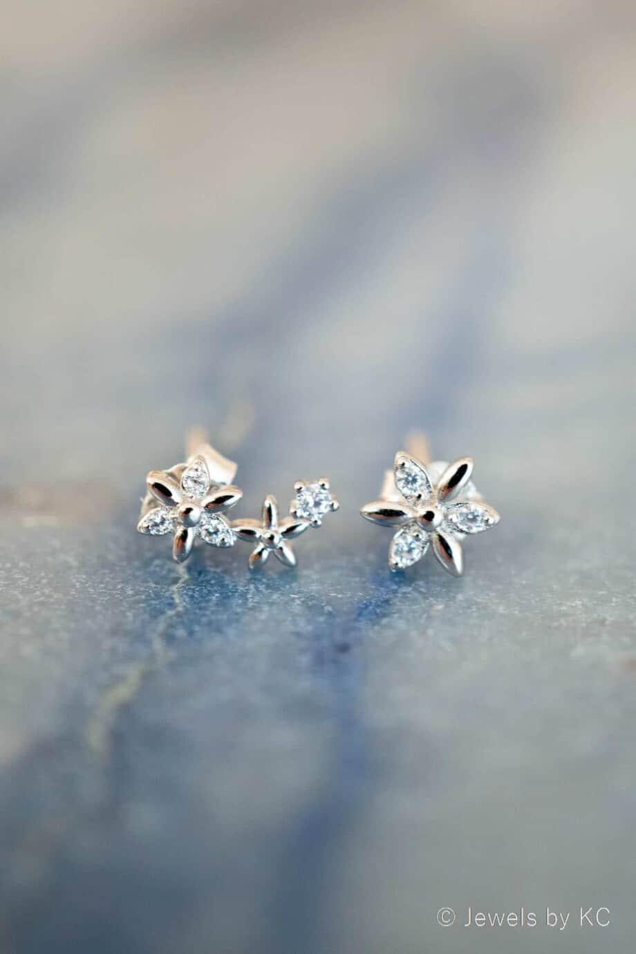 Zilveren Bloemen Oorbellen van Sterling Zilver