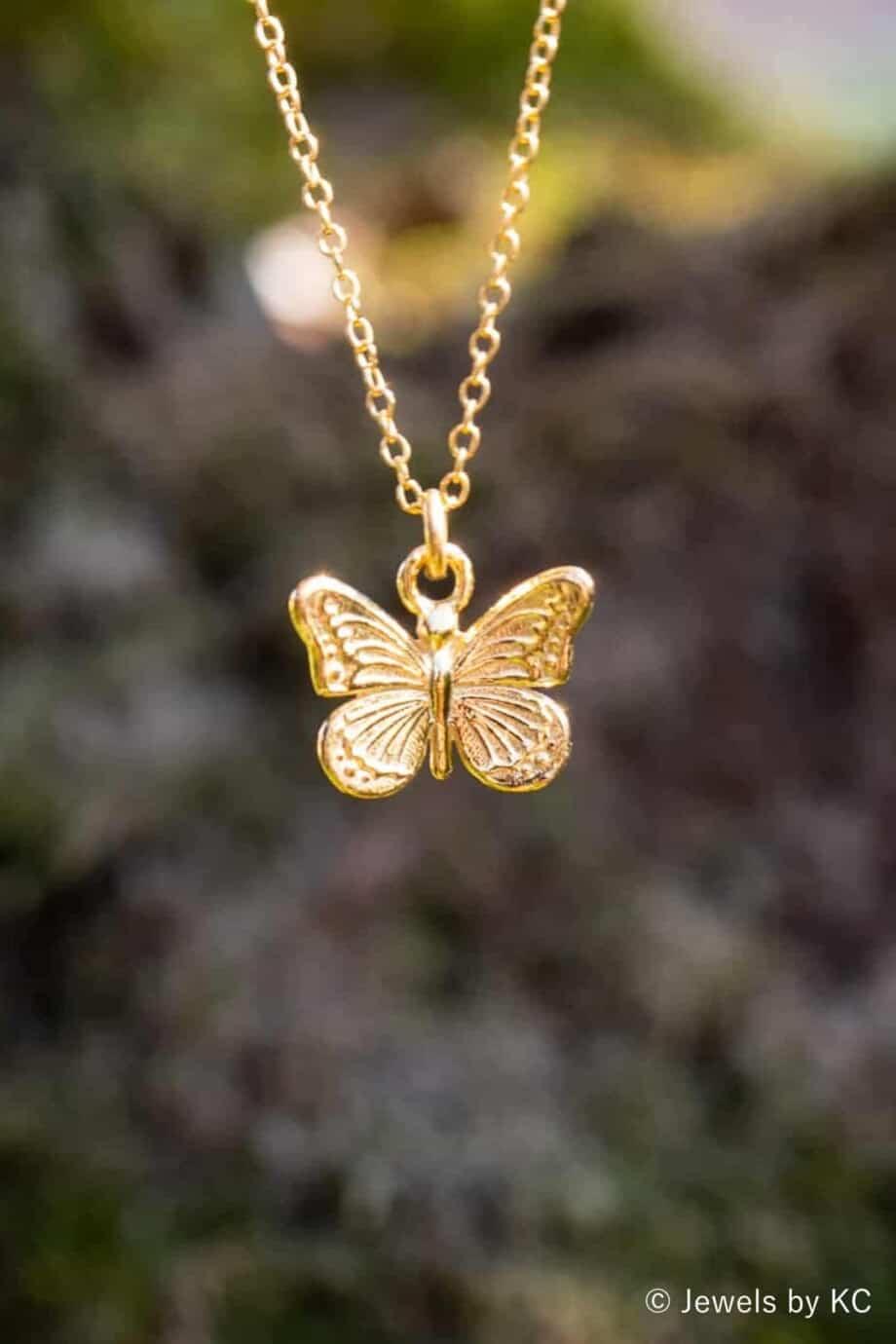 Gouden ketting met Vlinder hanger Goldfilled en Goud op Zilver