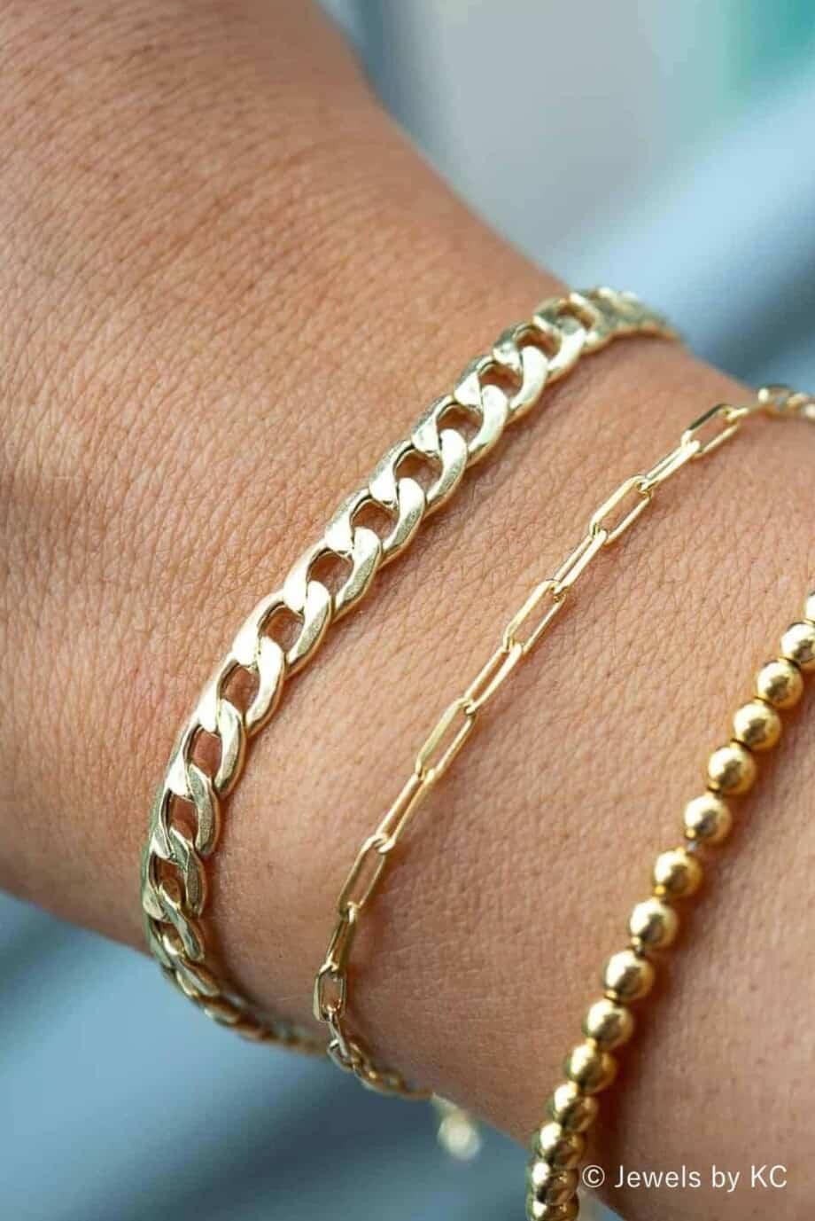 S-AR-20147-Gouden-armband 'Power chain' van Goud op Zilver