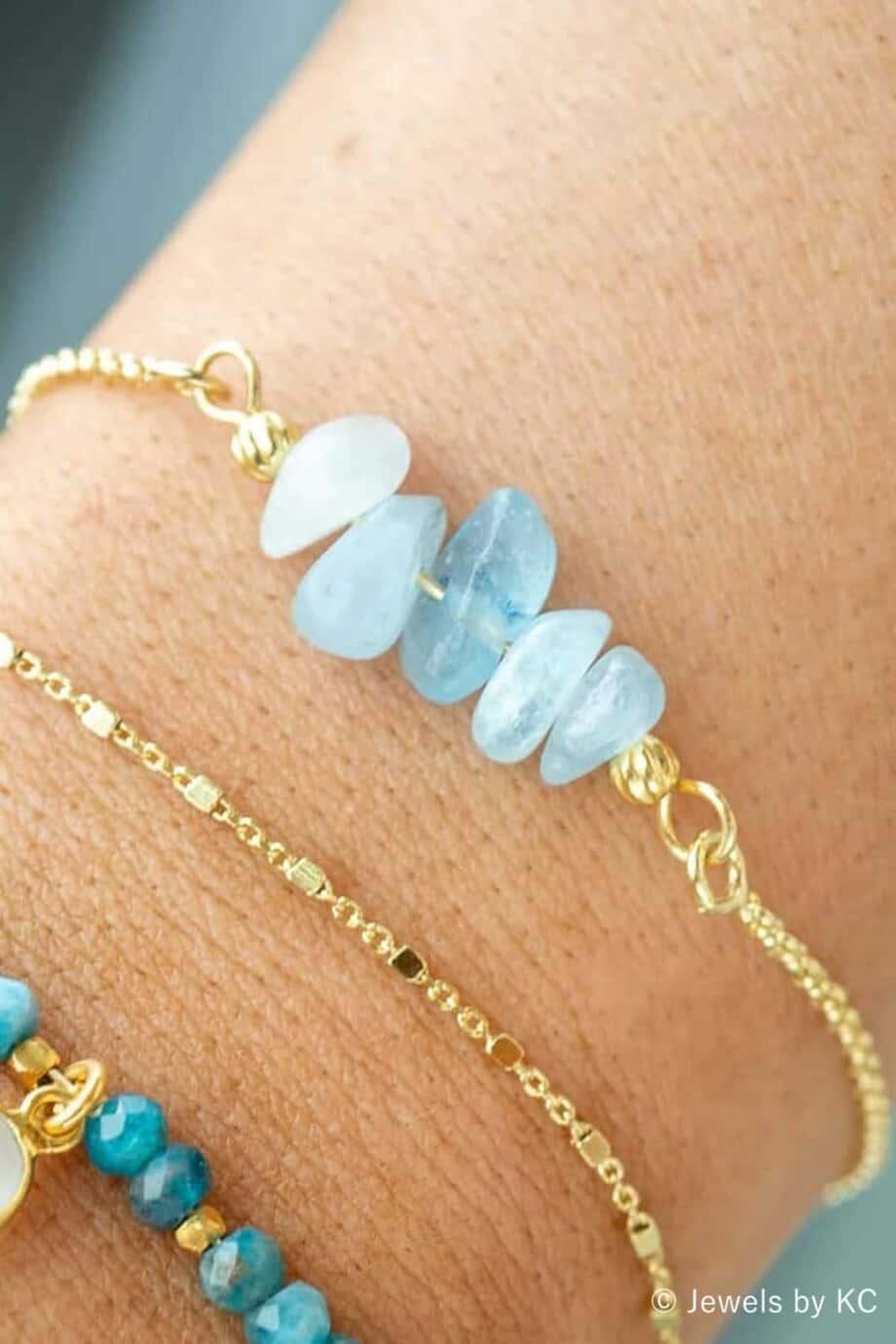 Gouden armband met blauw Aquamarijn edelsteentjes van Goud op Zilver