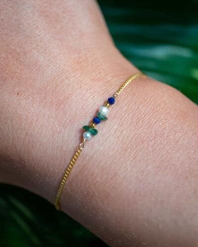 Gouden armbandje met blauwe Lapis Lazuli en Aventurijn edelsteen van Goud op Zilver