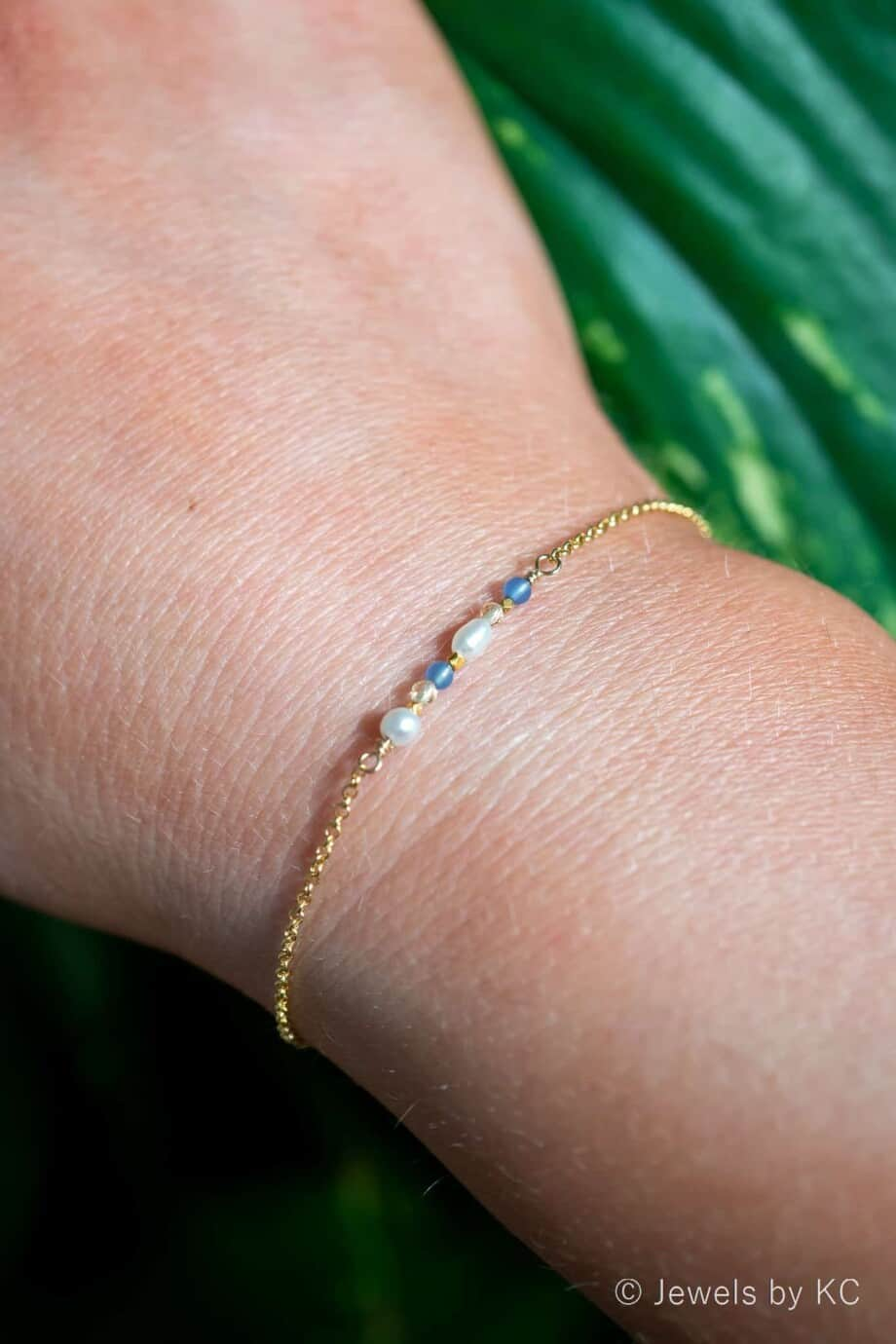 Gouden armbandje met Blauwe Jade Edelsteen en Citrien edelsteen van Goud op Zilver