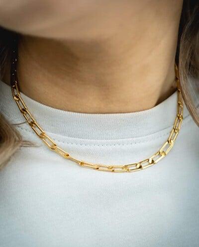 Gouden 'Chunky chain' ketting met grove schakel van Goldplated messing