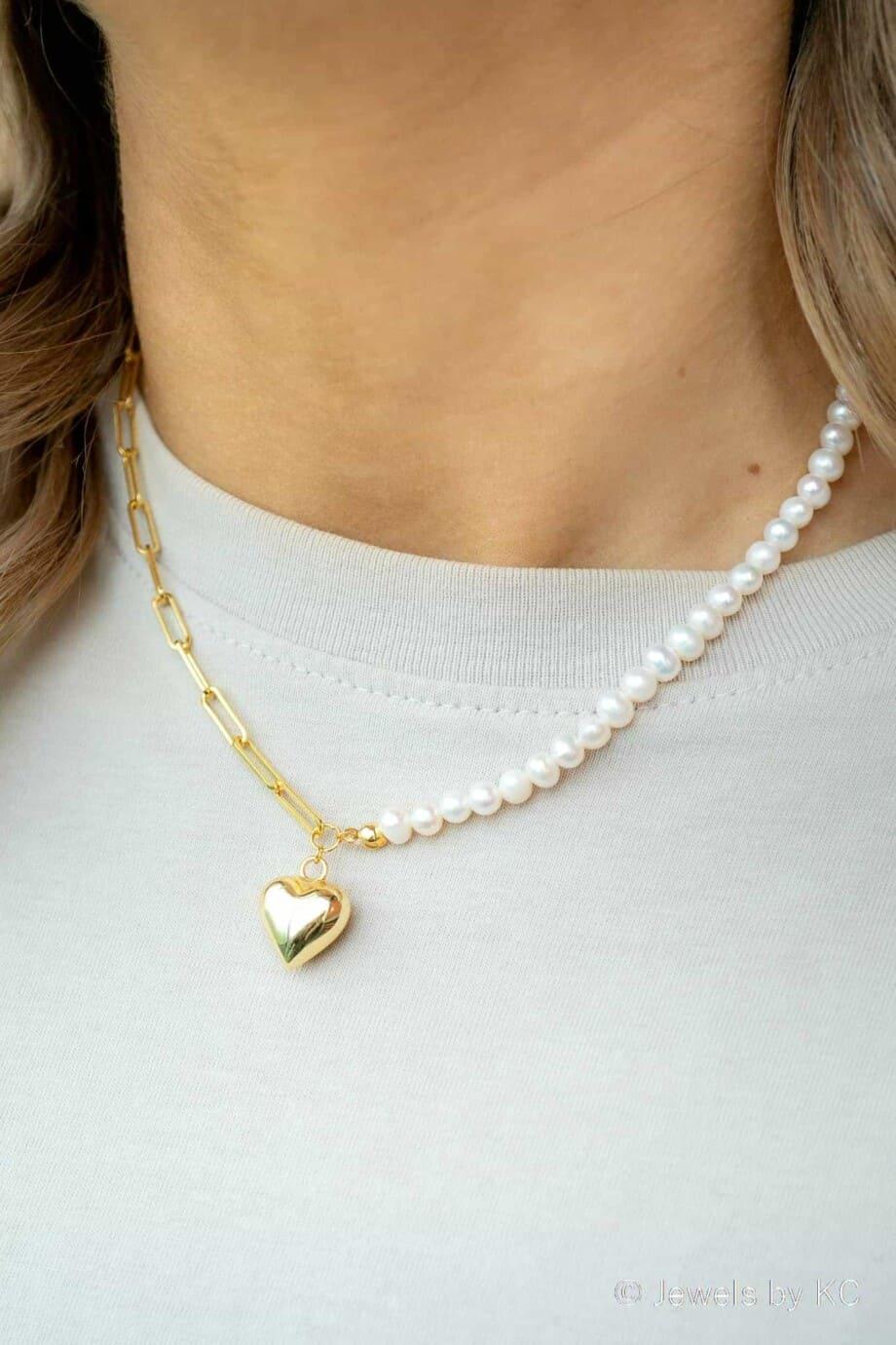 Gouden ketting Double Chique Heart van Goud op Zilver met Zoetwater parels