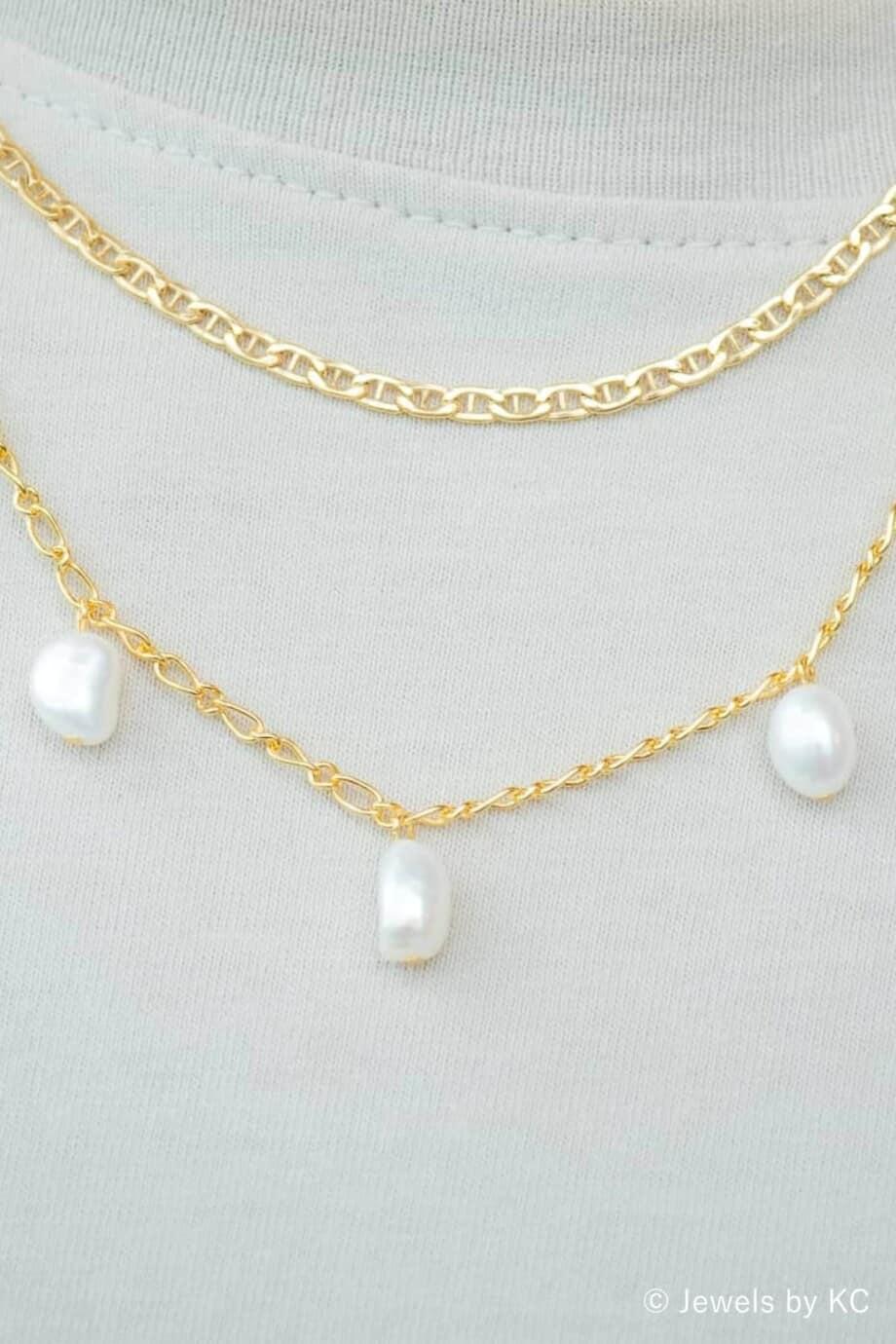 Gouden parel ketting 'Five pearls' van Goud op Zilver