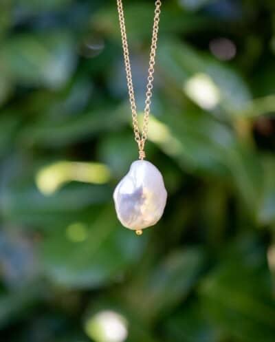 Gouden ketting 'Coin-Pearl' met Zoetwater parel van Goud op Zilver