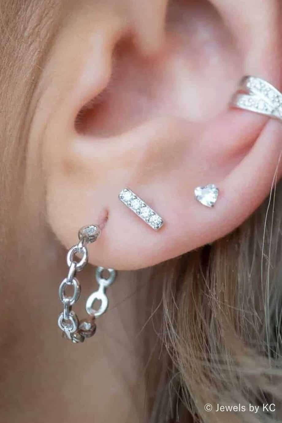 Zilveren oorbellen 'Bar' met Zirkonia van Sterling Zilver
