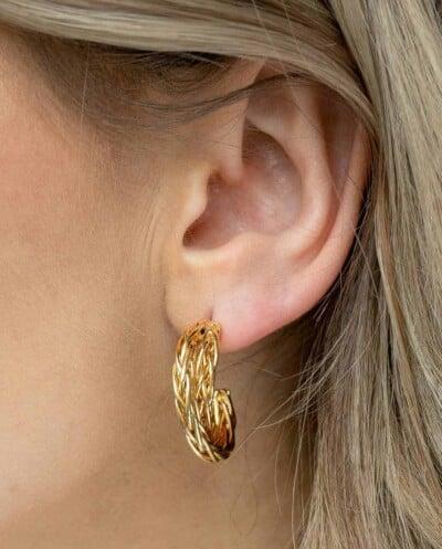 Gouden oorbellen'Twisted wires' van Goldplated messing
