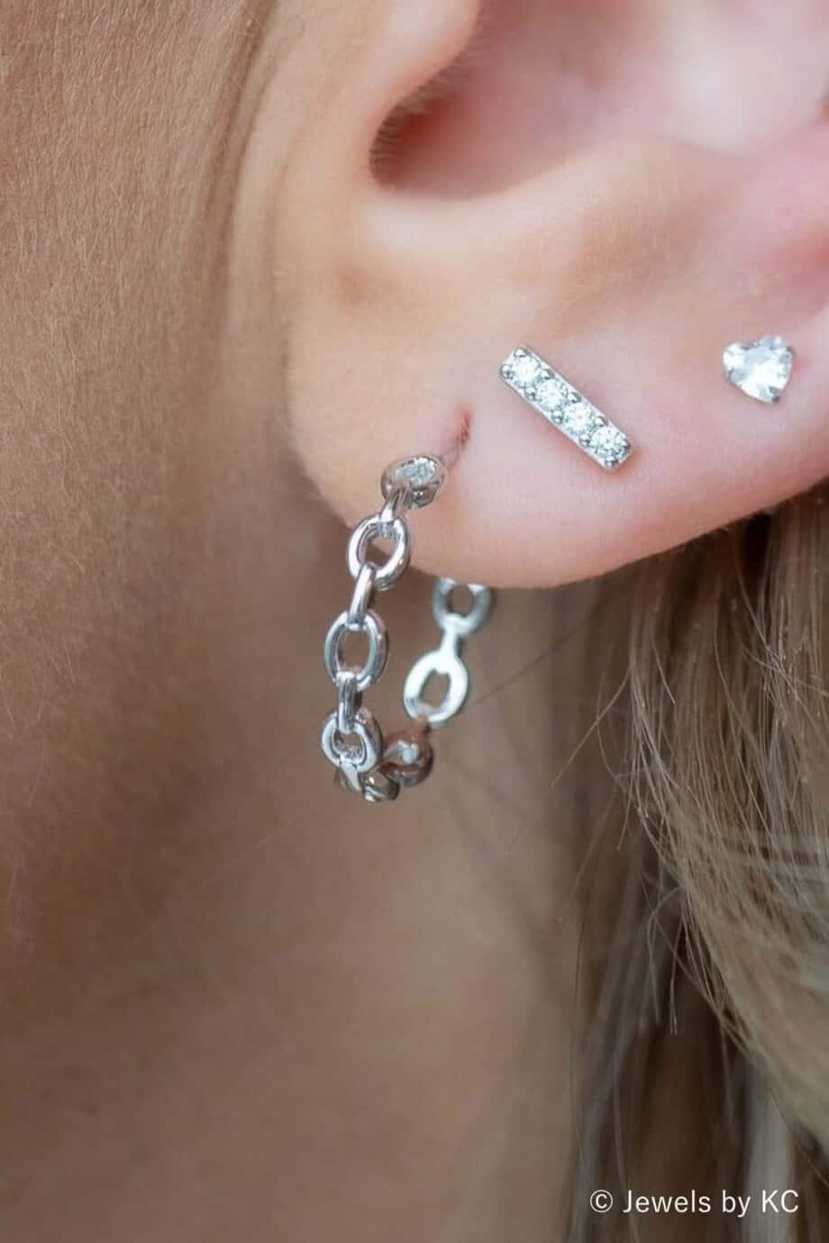 Zilveren 'Chain' oorbellen van Sterling Zilver