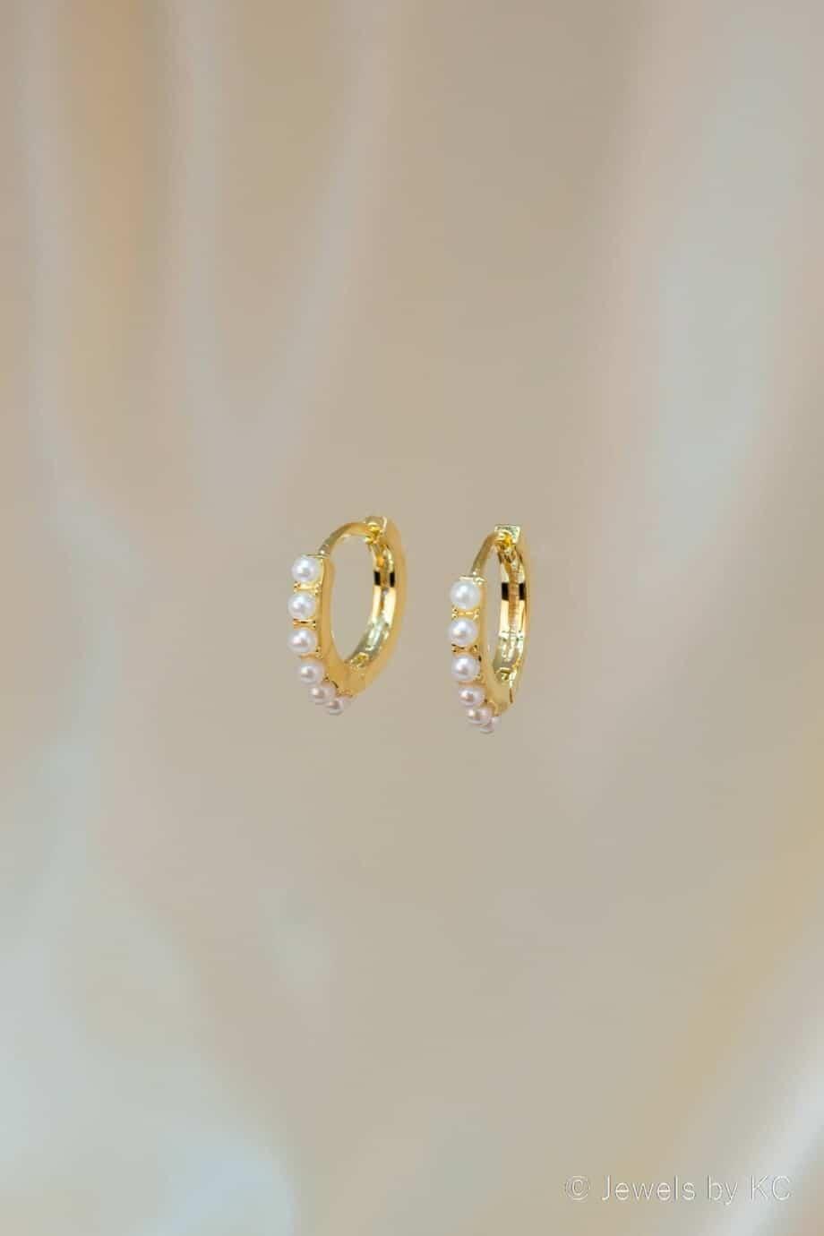 WS-OB-20169 Gouden oorbellen met Parels van Goud op Zilver