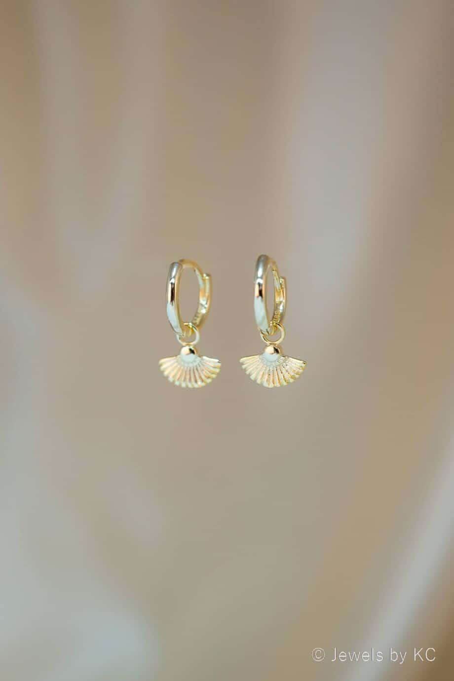 Gouden oorbellen Waaier van Goud op Zilver