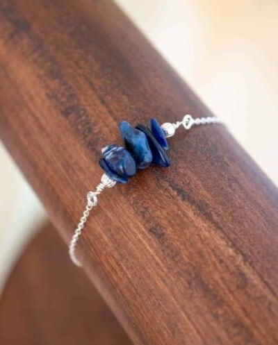 Zilveren edelsteen armband met blauwe Sodaliet edelsteen chips van Sterling Zilver