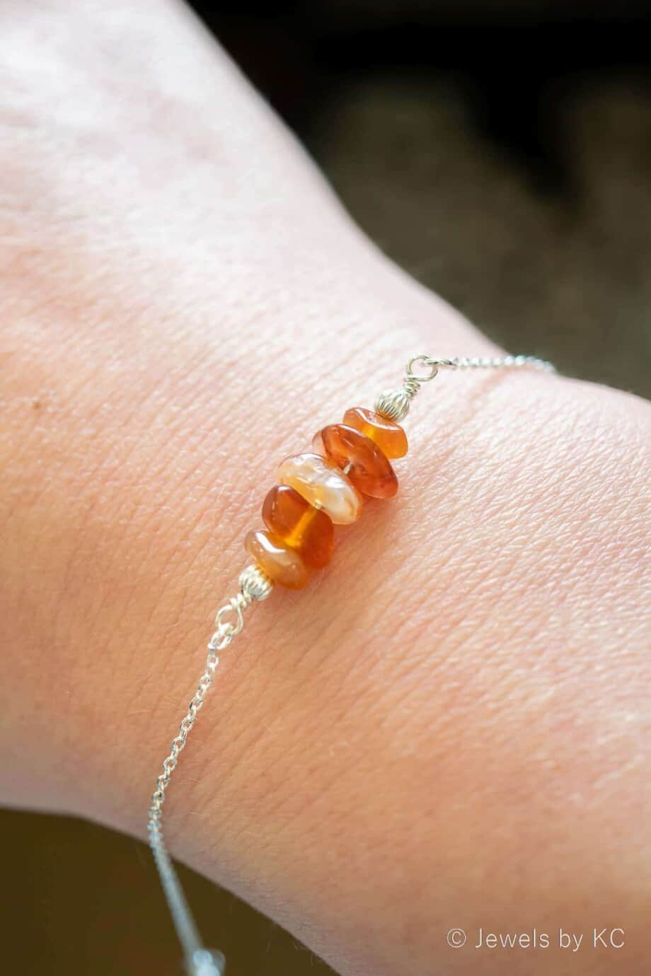Zilveren edelsteen armband met oranje Carneool edelsteen chips van Sterling Zilver