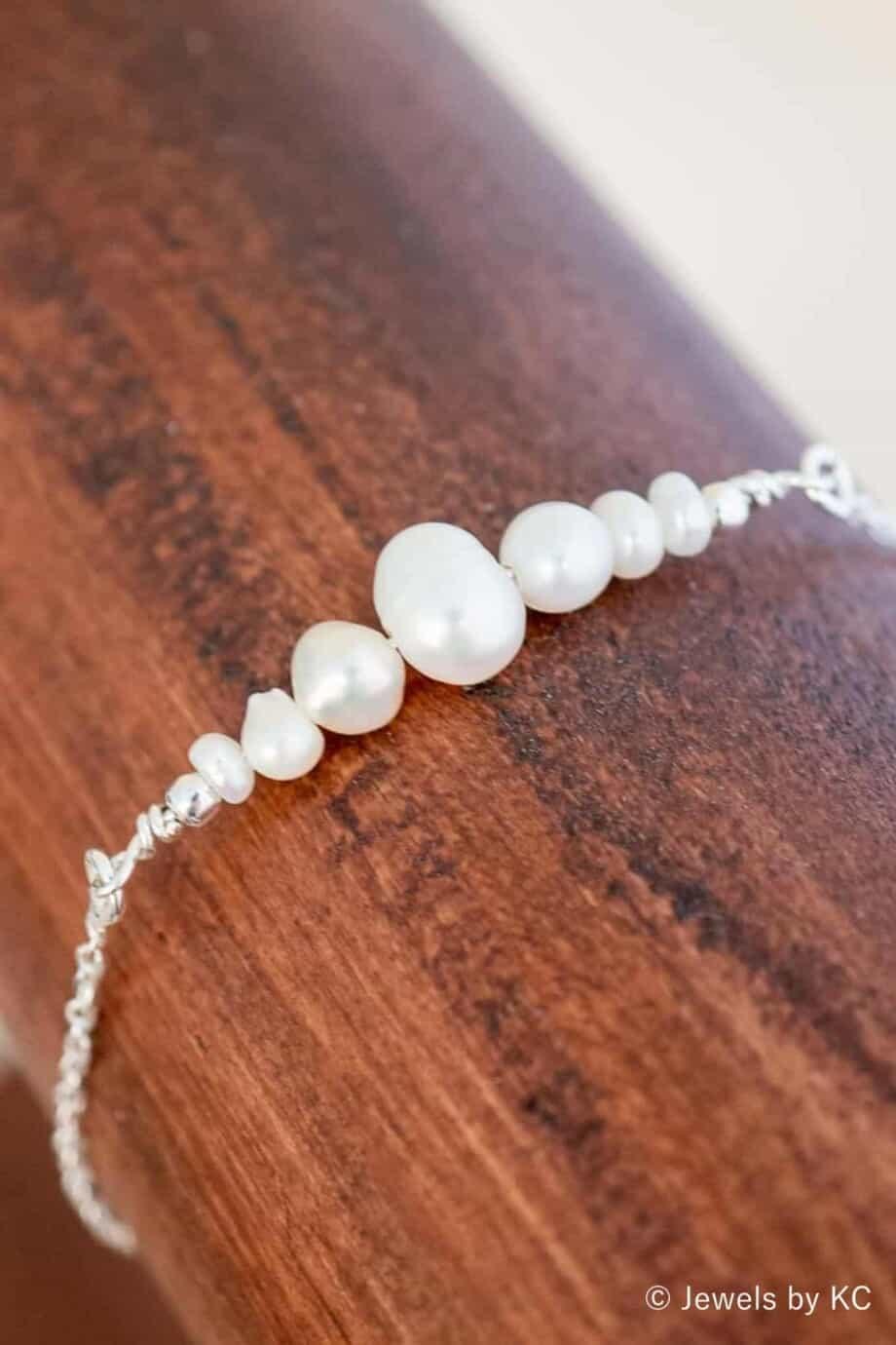 Zilveren Parel armband met Zoetwater parels van Sterling Zilver